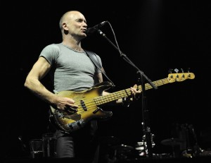 """NEW YORK, NY - MARCH 04:  Sting performs on stage during the Sting & Paul Simon """"On Stage Together"""" tour at Madison Square Garden on March 4, 2014 in New York, New York.  (Photo by Kevin Mazur/WireImage)"""