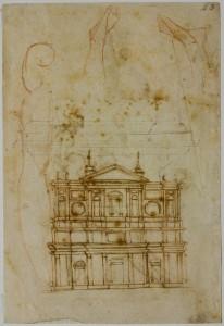 Michelangelo Buonarroti, Studio per la facciata di San Lorenzo, Firenze, Casa Buonarroti, inv. 43 A